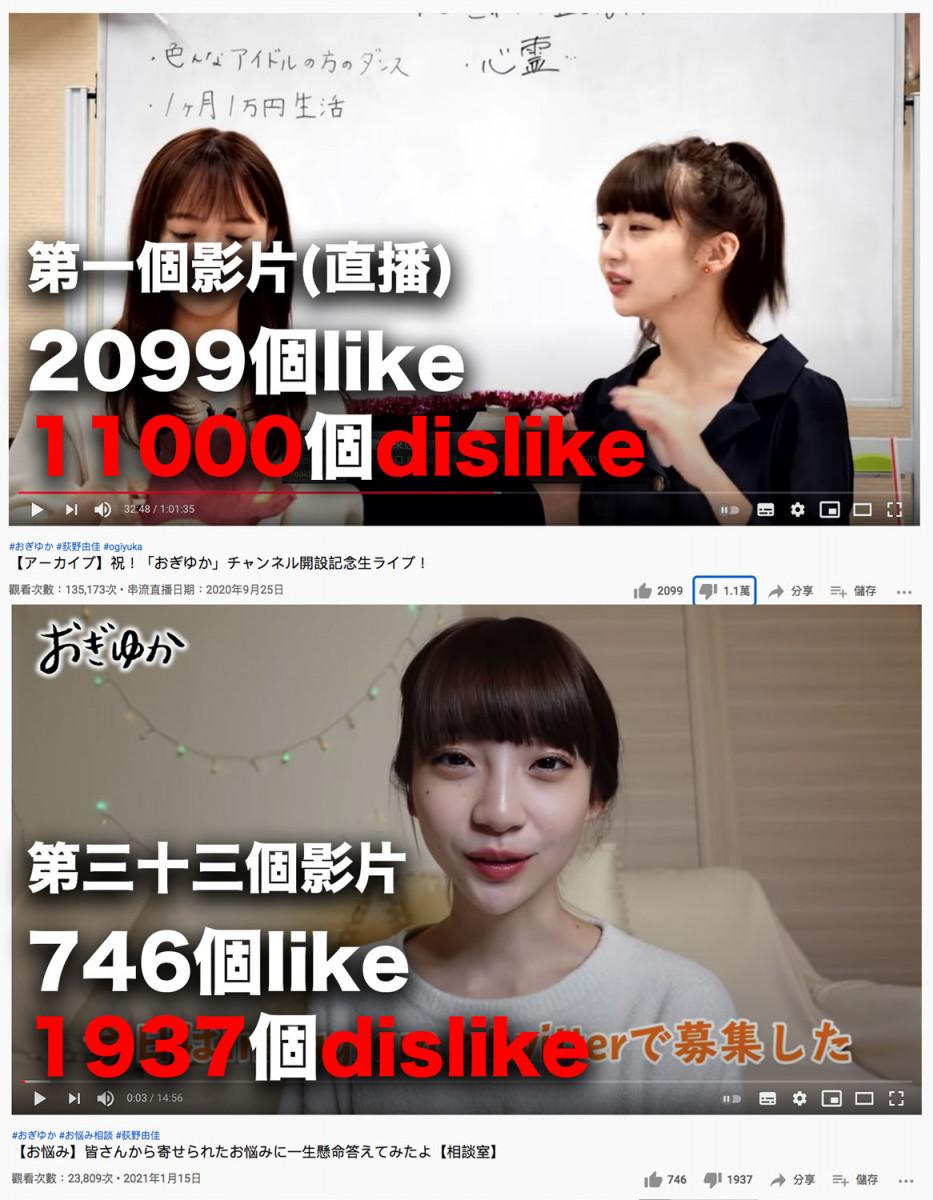 每一個影片都充滿負評:NGT48荻野由佳 宣佈停止更新YouTube頻道
